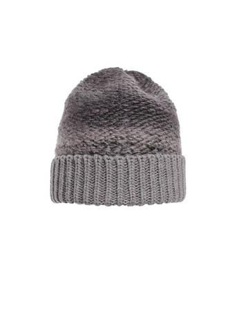 Теплая и практичная вязаная шапка с отворотом, серая. , фото 2