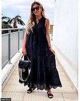 Платье-сарафан из прошвы,длинный черный 42-46 46-50