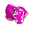 Ролики детские с защитой и шлемом четырехколесные для девочки с подсветкой размер М 34-37 Розовые, фото 3