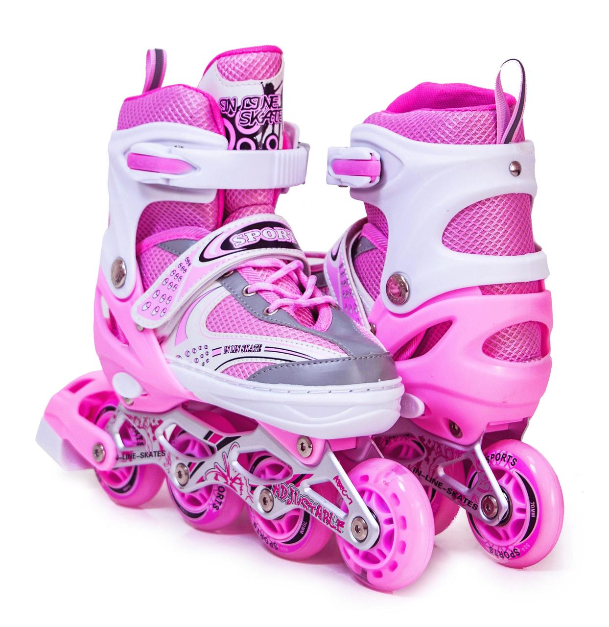 Ролики детские с защитой и шлемом четырехколесные для девочки с подсветкой размер М 34-37 Розовые