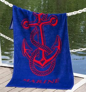 Полотенце Lotus пляжное - Anchor New синий 75*150 велюр