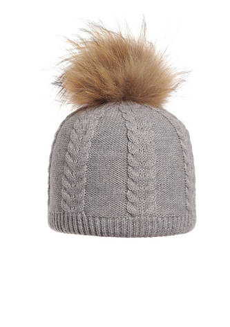 Теплая зимняя красиво связанная шапка, украшенная натуральным меховым бумбоном. , фото 2