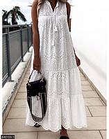 Платье-сарафан из прошвы,длинный белый , свободный крой 42-46 46-50