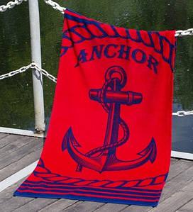 Полотенце Lotus пляжное - Anchor New красный 75*150 велюр