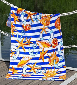 Полотенце Lotus пляжное - Shells 75*150 велюр