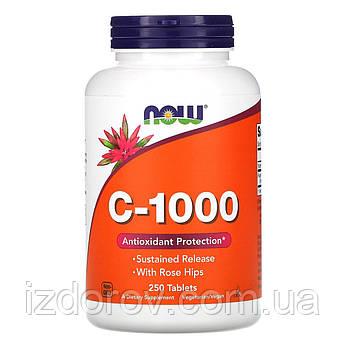 Now Foods, C-1000, Витамин С с шиповником для длительного высвобождения, 250 таблеток. США