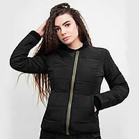 Стеганая женская курточка черная на молнии без капюшона, короткая куртка весна Dark Side премиум качества