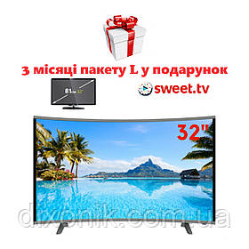 "Панорамный телевизор LCD LED JPE 32"" изогнутый HD экран T2 USB HDMI + в подарок 3 месяца бесплатного Sweet TV"