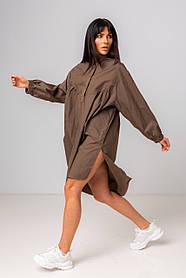 Стильная длинная однотонная рубашка-платье с длинным рукавом свободного кроя в 2 цветах в размере S/M и M/L.