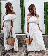 Платье женское с оборкой летнее из прошвы,длинное белое 42-46 , 48-50