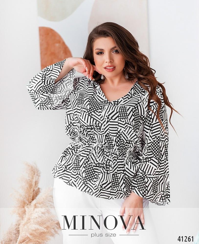 Ошатна біла жіноча блузка з натуральної тканини з принтом великі розміри 52,54