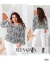 Ошатна біла жіноча блузка з натуральної тканини з принтом великі розміри 52,54, фото 2