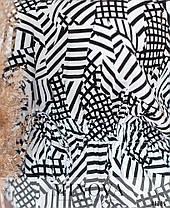 Ошатна біла жіноча блузка з натуральної тканини з принтом великі розміри 52,54, фото 3