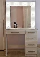 Туалетный столик и макияжное зеркало трюмо с подсветкой 5 ящиков белый 900 мм
