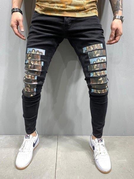 Мужские стильные черные джинсы Турция