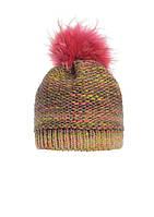 Теплая зимняя вязаная шапка, украшенная ярким помпоном из натурального меха Pawonex