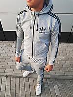 Модний чоловічий весняний костюм Adidas світло-сірий з чорними смужками, (репліка)
