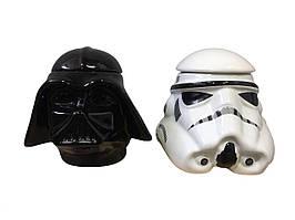 Кружка керамическая Звездные войны Дарт Вейдер 3D Штурмовик черная и белая 450 мл