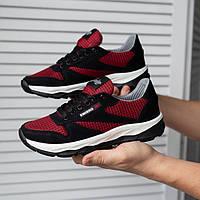 Подростковые модные кроссовки текстильные летние красно черные