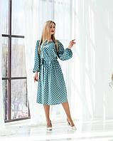 Бирюзовое шелковое платье в горошек