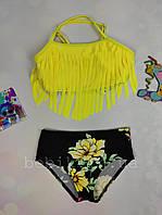 Детский купальник с бахромой и цветочным принтом р 28-36