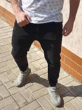 Джинсы мужские черного цвета на манжетах джоггеры стильные молодежные на резинках весна лето джинсы пром