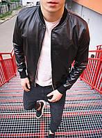 Модная стильная мужская черная куртка бомбер кож зам без капюшона, ветровка молодежная