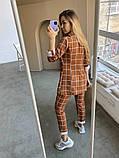 Женский стильный брючный костюм в клетку норма и батал белый кирпичный, фото 7