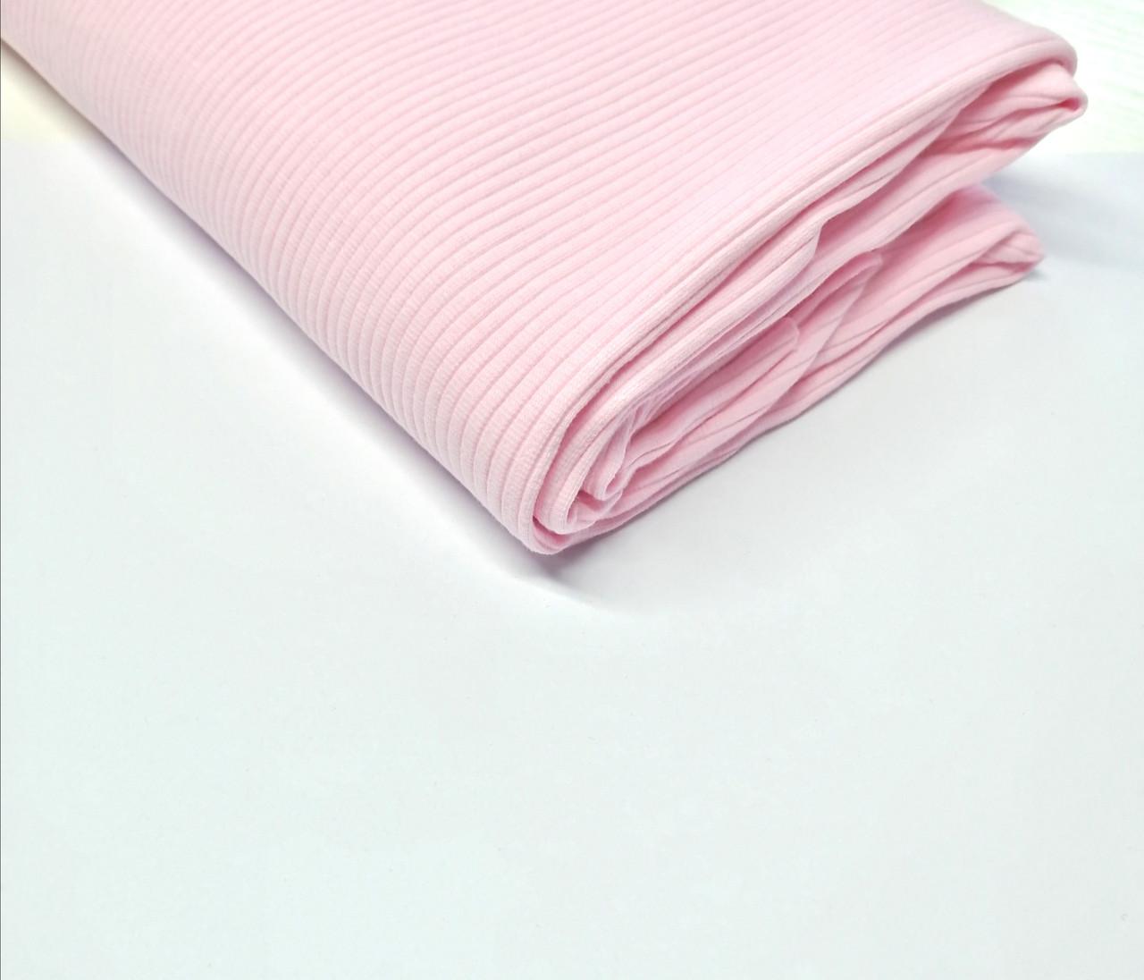 Трикотаж рубчик лапша Світло рожевий
