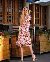 Летнее платье из софта на запах - принты листья и кораллы 40-42, 44-46 - опт 310грн, 48-50 опт 340грн
