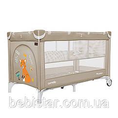 Детский игровой манеж-кровать с колыбелью бежевый с дверцей CARRELLO Piccolo CRL-9201/2 от рождения