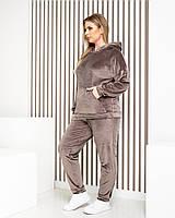 Жіночий велюровий костюм м'який плюш БАТАЛ кави / кавового/ коричневого кольору арт.М419