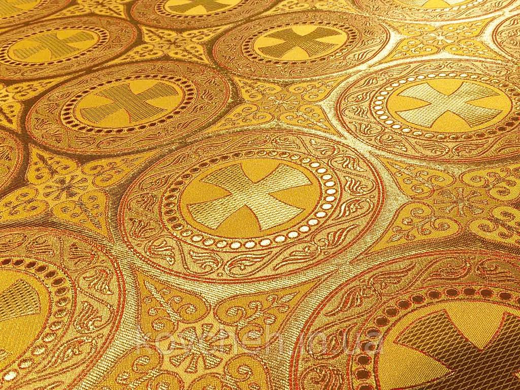 Шовкова церковна тканина Ефес жовтий з червоним контуром