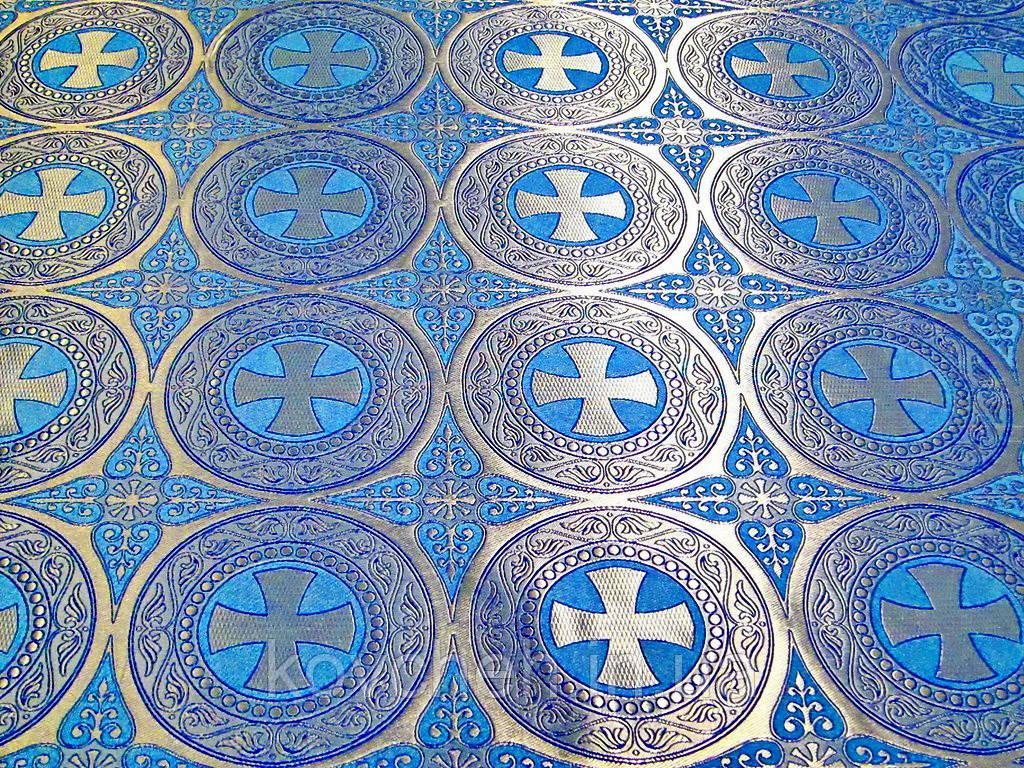 Шелковая церковная ткань Эфес голубой с серебром