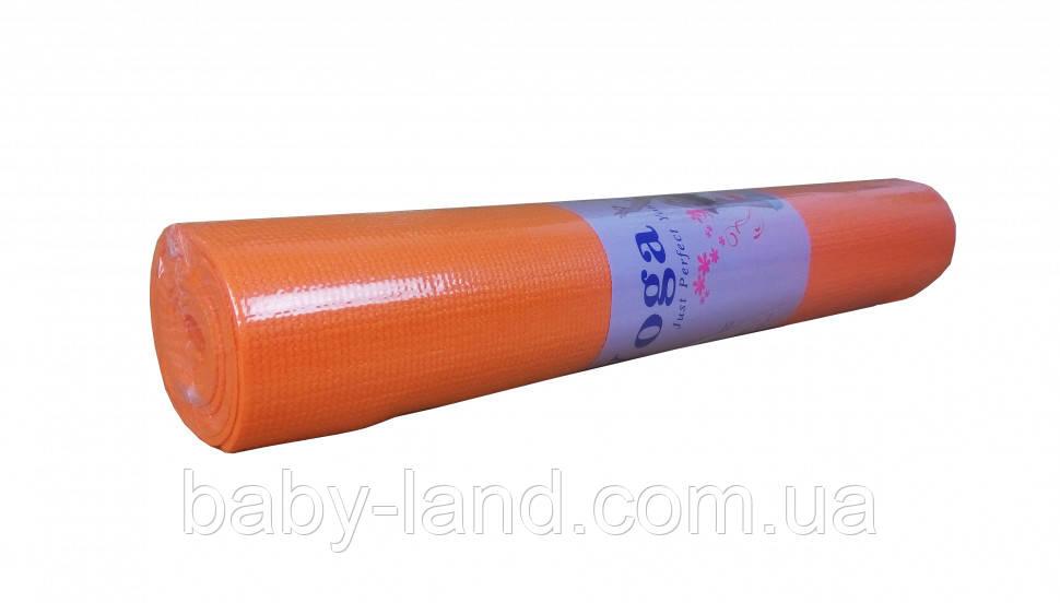 Йогамат, килимок для йоги MS1847 матеріал ПВХ ((Помаранчевий))