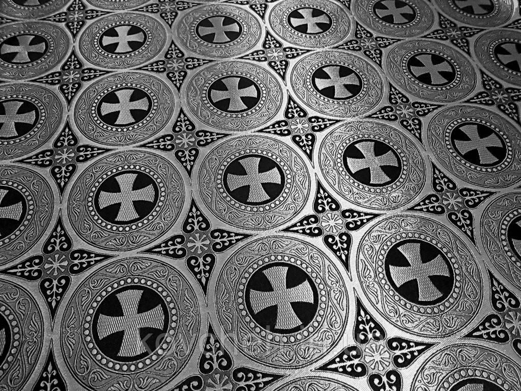 Шовкова церковна тканина Ефес чорний з сріблом