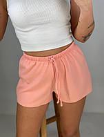 Шорти в рубчик однотонні жіночі ПЕРСИК (ПОШТУЧНО), фото 1