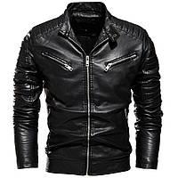 Куртка косуха кожаная байкерская мотоциклетная мужская молодежная черная Турция