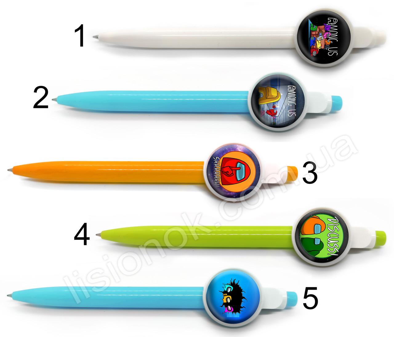 Кулькова ручка Амонг Ас, яскрава та стильна, з героями улюбленої гри Among Us, синя паста