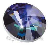 Пришивные риволи в цапах Preciosa (Чехия) 12 мм Crystal Heliotrop/серебро