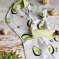 Трикотажная евро пеленка кокон для новорожденных для немовлят на молнии в комплекте с шапочкой (8060LUK)