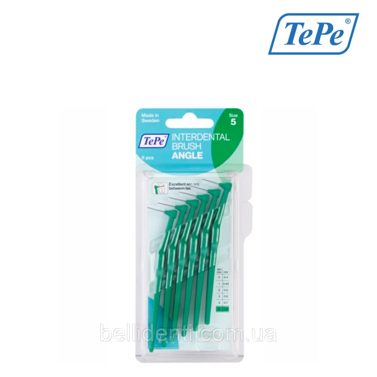 Межзубная щетка TePe Angle угловая, зеленая (0,8мм), 6 шт