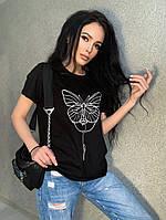 Стильная женская футболка принт хлопок 42-46 48-50 лиловый бежевый черный белый