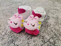 Носки белые с игрушкой для девочки 0-8 мес П19