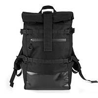 Рюкзак мужской городской  черный Roll Top TITAN, мужской рюкзак городской для ноутбука роллтоп, Рюкзак ролл