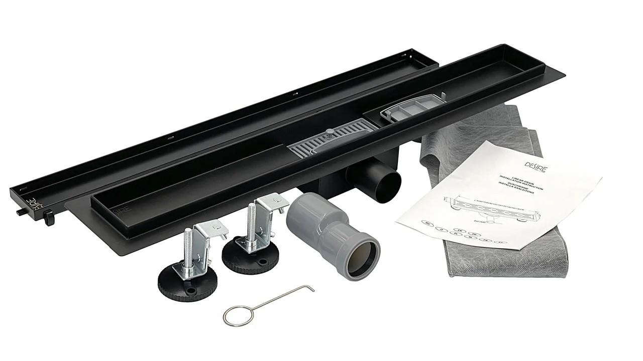 Душовий Трап 600*70 мм, Desire Notte (Італія) нержавіюча сталь в чорному кольорі, сантехнічний