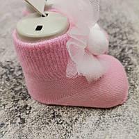 Нарядные Носки розовые с игрушкой для девочки 0-6 мес 0607