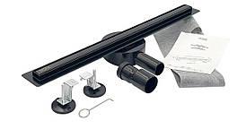 Душовий Трап з поворотним сифоном під плитку 800*30 мм Gusto (Італія) нержавіюча сталь Black