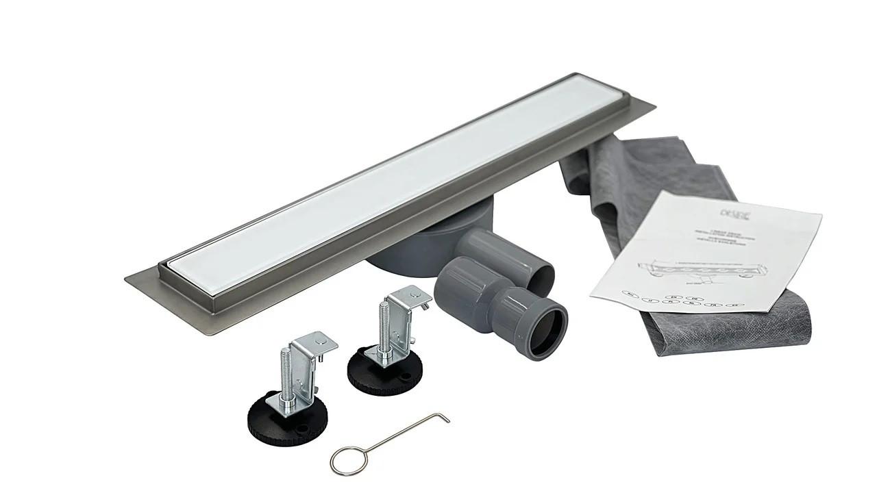 Душовий Трап гартоване скло 600*70 мм, Bianco Glass (Італія) під плитку з поворотним сифоном