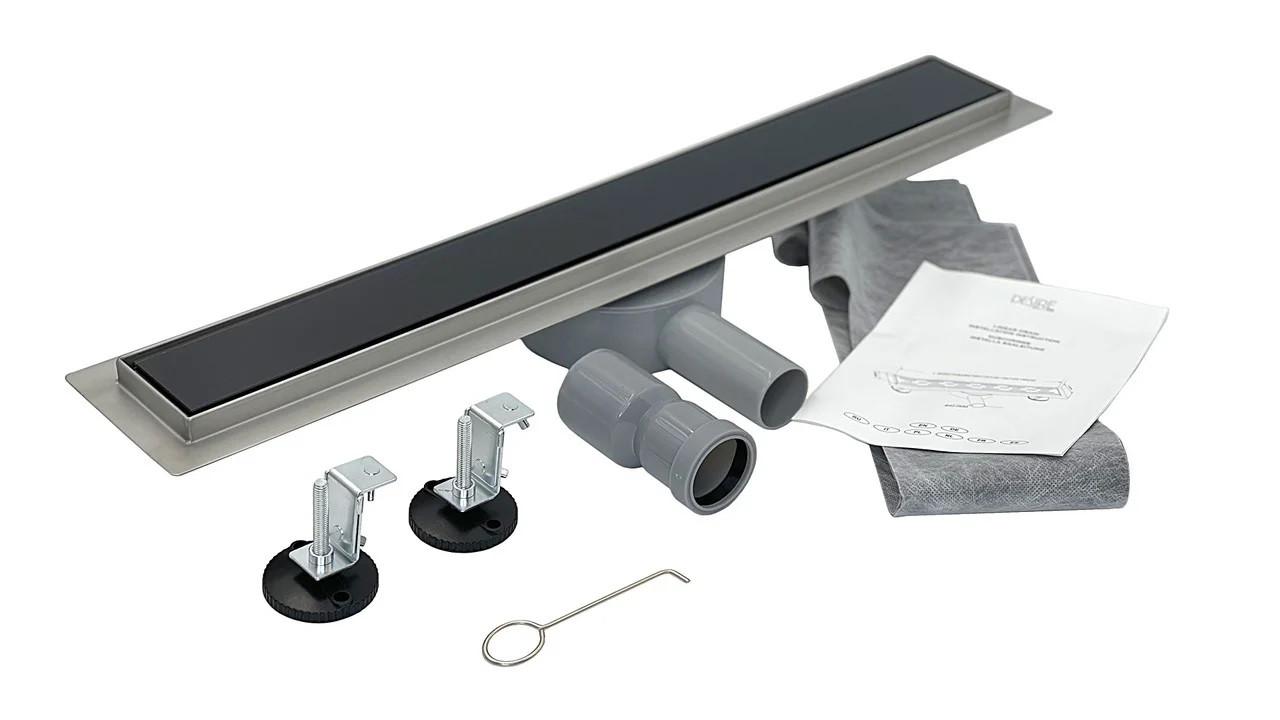 Трап душевой каленное стекло 600*70 мм, Nero Glass Black (Италия) под плитку с поворотным сифоном